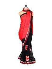 Red And Black Art Silk Saree With Thread Embroidery Work, With Matching Blouse Piece - Saraswati