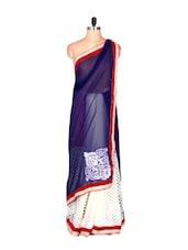 Blue And White Art Silk Saree With Thread Embroidery Work, With Matching Blouse Piece - Saraswati