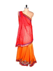 Red, Orange And Cream Art Silk Saree With Thread Embroidery, With Matching Blouse Piece - Saraswati