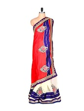 Red And Off-white Art Silk Saree With Thread Embroidery, With Matching Blouse Piece - Saraswati