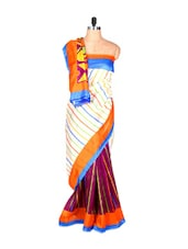 Multi-coloured Bhagalpuri Art Silk Saree In Printed Fabric, With Matching Blouse Piece - Saraswati - 900103