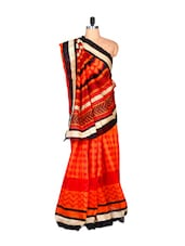 Orange And Cream Bhagalpuri Art Silk Saree In Printed Fabric, With Matching Blouse Piece - Saraswati