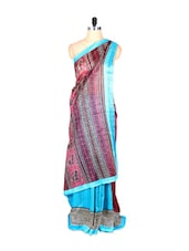 Sky Blue And Bhagalpuri Art Silk Printed Fabric Saree, With Matching Blouse Piece - Saraswati