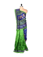 Blue And Green Bhagalpuri Art Silk Printed Fabric Saree, With Matching Blouse Piece - Saraswati