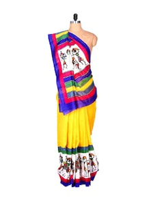 Yellow Bhagalpuri Art Silk Printed Fabric Saree With A Multi-coloured Aanchal, With Matching Blouse Piece - Saraswati