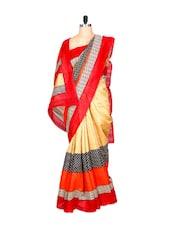 Red And Cream Bhagalpuri Art Silk Printed Fabric Saree, With Matching Blouse Piece - Saraswati