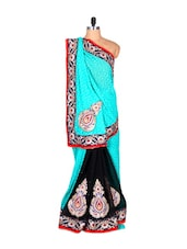 Sky Blue And Black Silk Saree With Thread Embroidery Work, With Matching Blouse Piece - Saraswati