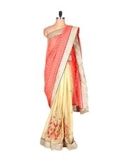 Coral Orange And Cream Silk Sari With Thread Embroidery, With Matching Blouse Piece - Saraswati