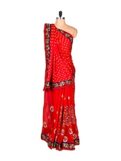Red Silk Sari With Thread Embroidery, With Matching Blouse Piece - Saraswati