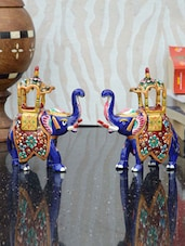 Royal Blue Set Of Two Elephants With Chariot Decorative - ECraftIndia