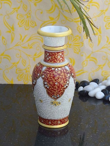 Hand Painted White Marble Vase