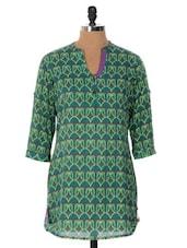 Green Printed Kurti - Cotton Curio