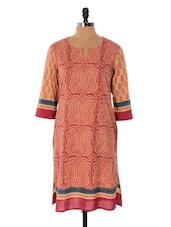 Carrot Pink And Beige Printed Kurta - Cotton Curio