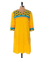 Yellow And Blue Printed Kurta - Cotton Curio