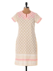 Beige And Pink Printed Kurta - Cotton Curio