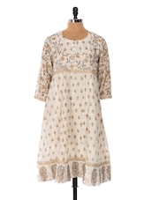 Off-white Pleated Kurta With Beige Prints - Cotton Curio