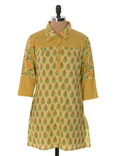 Yellow And Green Floral Print Kurta - Cotton Curio
