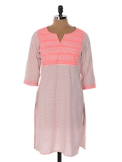 Light Pink Printed Long Kurta - Cotton Curio