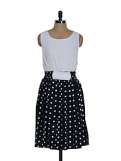 White And Blue Polka Dot Dress - Eavan