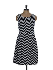Monochrome Chevron Print Dress - Eavan
