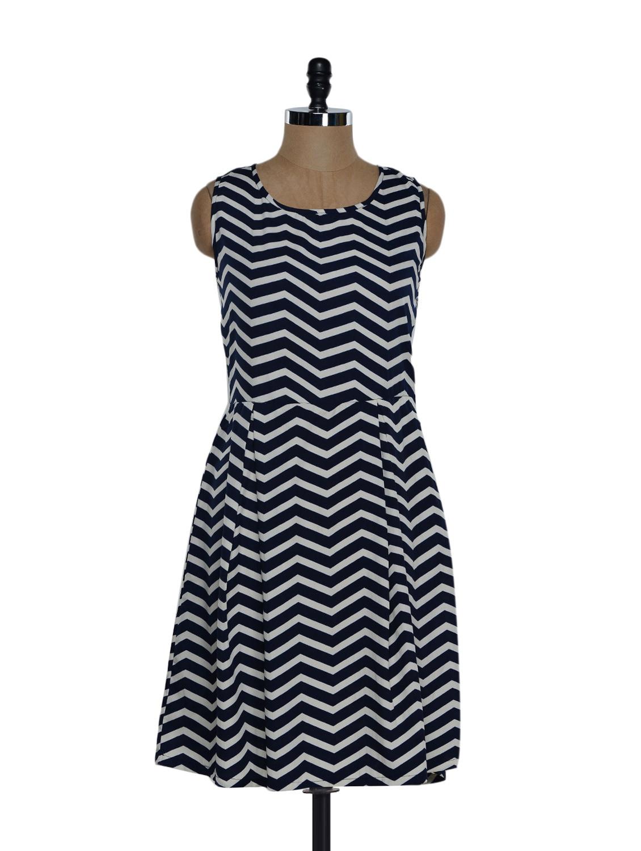 Monochrome Chevron Print Dress - Eavan
