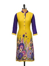 Yellow And Blue Floral Print Kurta - Kaccha Taanka