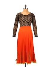 Orange Anarkali With Lace Sleeves - Ira Soleil