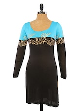 Black & Blue Kurta With Rose Print - Ira Soleil