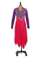 Pink And Purple Color Block Long Kurta With White Print - Ira Soleil