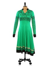 Long Sleeves Floral Green And Black Printed Anarkali - Ira Soleil