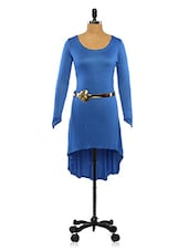 Blue High Low Tunic With Gold Floral Belt - Ira Soleil