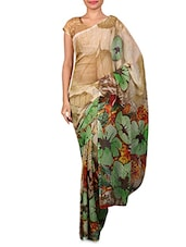 Beige Floral Printed Georgette Saree - Fabdeal