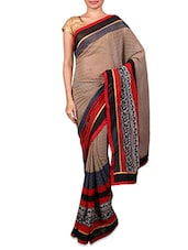 Beige Geometric Printed Chiffon Saree - By
