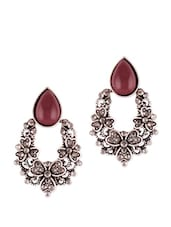 Silver Oxidized Red Earrings - VIDHI