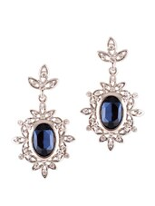 Silver Earrings With Blue Stone - VIDHI