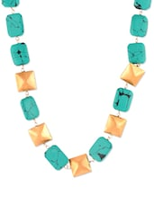 Blue And Gold Beads Necklace - VIDHI