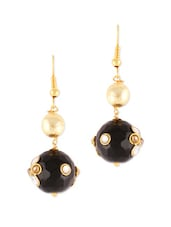 Black And Gold Fish Hook Earrings - VIDHI