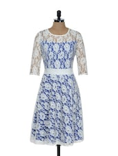 Blue And White Net Dress - Holidae