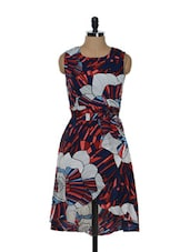 Blue And Red Dress With White Floral Prints - Holidae