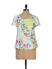 White Base Top With Floral Prints - Holidae