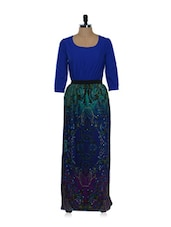 Blue And Green Printed Long Dress - Holidae