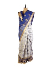 Bold Blue And Off-White Super Net Saree With Resham And  Zari Embroidery, Patch Border And Matching Gold Blouse. - Drape Ethnic