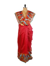 Red Net Saree With Blouse Piece - Drape Ethnic