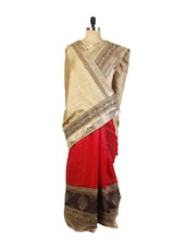 Beautiful Beige, Black And Red Party And Festive Wear Art Silk Saree With Resham Embroidery And Patch Border, Tussar Art Silk Bl - Drape Ethnic