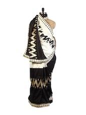Classic  Off-White And Black Art Silk Saree With Zari And Resham Embroidery And A Patch Border, Black  Art Silk Blouse. - Drape Ethnic
