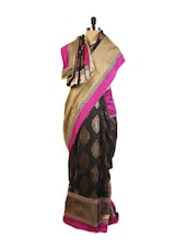 Pretty Pink And Black Art Silk Saree  With Zari Embroidered And  Patch Border, A Tussar Art Silk Blouse. - Drape Ethnic