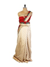 Smart Combination Of Red And Beige  Art Silk Saree With Half-Half, Resham And Zari Embroidery, Patch Border And  Matching Green - Drape Ethnic
