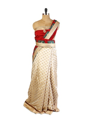 Smart Combination Of Red And Beige  Art Silk Saree with Half-Half, Resham and Zari Embroidery, Patch Border and  Matching Green