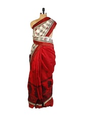 Elegant Red And Cream Art Silk Saree With Half-Half, Resham And Zari Embroidered Border, Patch Border And A Matching Cream Blous - Drape Ethnic