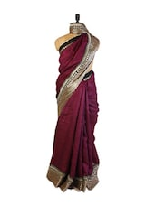 Elegant Purple Art Silk Saree With Zari Embroidered Border, Patch Border And A Matching Beige Blouse. - Drape Ethnic